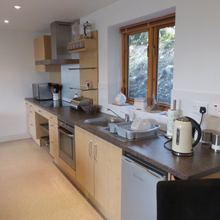 Kitchen area at The Pines, self catering, Port Erin