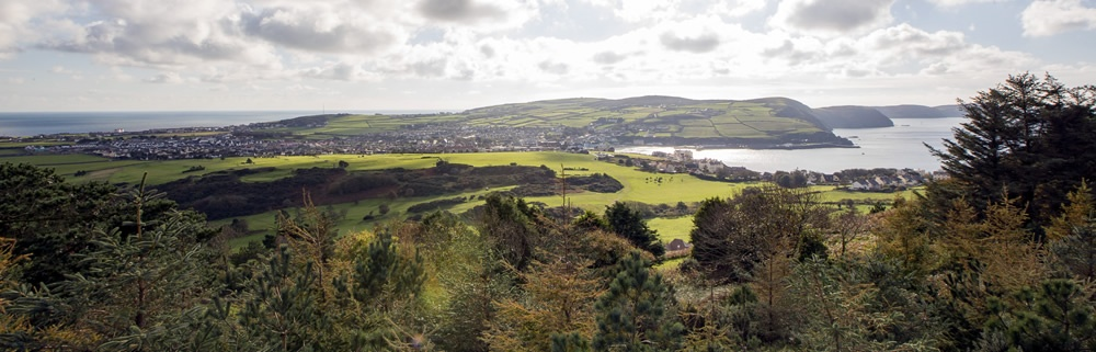 View to the south: Port Erin, Port St mary, southern peninsular and the Calf of Man